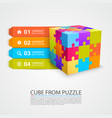 colored puzzle cube info vector image