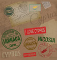 cyprus travel stamps on retro background with old vector image