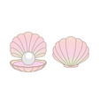 luxury rainbow pearl in a clamshell vector image