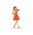 mom character with child talking on the phone vector image