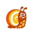 funny cartoon snail colorful character vector image