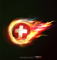 Switzerland flag with flying soccer ball on fire vector image