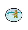 Fly Fisherman Casting Fly Rod Oval Cartoon vector image