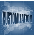 customization word on digital binary touch screen vector image vector image