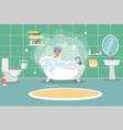 a man washes in the bathroom with foam bathroom vector image
