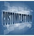 customization word on digital binary touch screen vector image