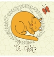 Cute cat character with french vector image