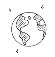 doodle globe icon hand drawn earth vector image