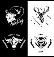emblem sign symbol of animals heads heads vector image