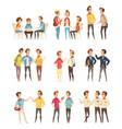 teenage boys groups cartoon icons vector image