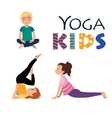 Yoga kids Asanas poses vector image