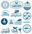 Seafood Restaurant Labels Badges and Icons vector image