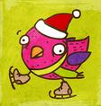 Ice Skating Bird Cartoon vector image