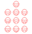 Contour monkey face expressions vector image