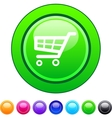 Shopping cart circle button vector image
