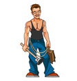 Cartoon sexy plumber with plunger and portfolio vector image