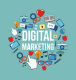 digital marketing network business media design vector image