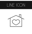 isolated domicile outline heart in house vector image