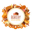 pastry and bakery food for bakehouse badge vector image