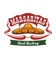 Red chili pepper as mustache and mexican sombrero vector image