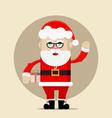 Santa Claus holding the gift and waving vector image