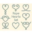 Set of rope hearts decorative knots vector image