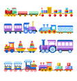 toy train with kid toys flat icons for vector image