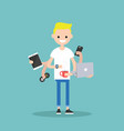 multitasking millennial concept young blond man vector image