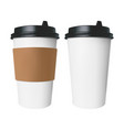 white paper cup with a brown cover with label and vector image