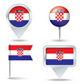Map pins with flag of Croatia vector image