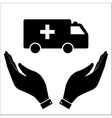 Ambulance in hand icon vector image