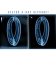 blue 3D x ray style alphabet for vector image