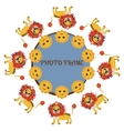 Frame for baby photo background with lion vector image