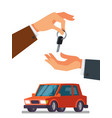 hand giving car keys in the other hand vector image