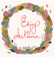 Hello autumn Autumn wreath with colored leaves vector image