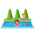 kids playing in the swimming pool vector image