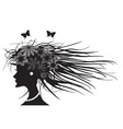 woman hairstyle profile vector image