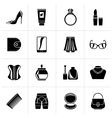 Black female accessories and clothes icons vector