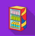 fridge with drinks icon in flate style isolated on vector image