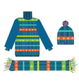 Knitted sweater scarf and hat for Christmas vector image vector image