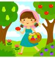girl picking fruit vector image vector image