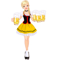 German girl serving beer vector image vector image