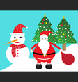 santa claus and snowman christmas card vector image