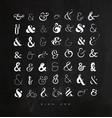 set ampersands for letters chalk vector image
