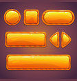 Set of orange cartoon glossy buttons vector image