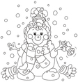 Christmas Snowman with a bell vector image