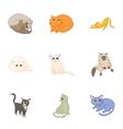 Pet icons set cartoon style vector image