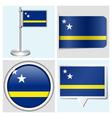 Curacao flag - sticker button label flagstaff vector image