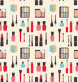Seamless Texture of Beauty and Makeup Icons vector image vector image