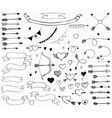 Doodle love set for design vector image